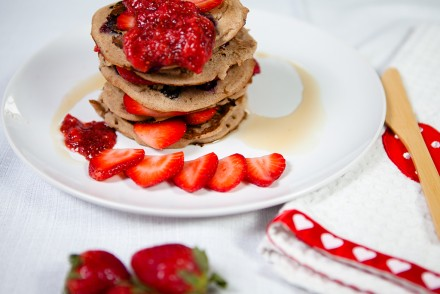 Banana Blueberry Pancakes with Strawberry Chia Jam