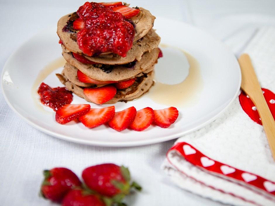 Banana Blueberry Pancakes with Strawberry Chia Jam