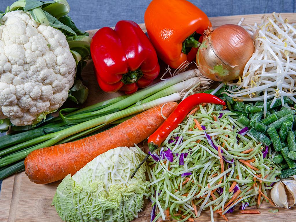 Cauliflower Fried Rice and Vegan Spring Rolls