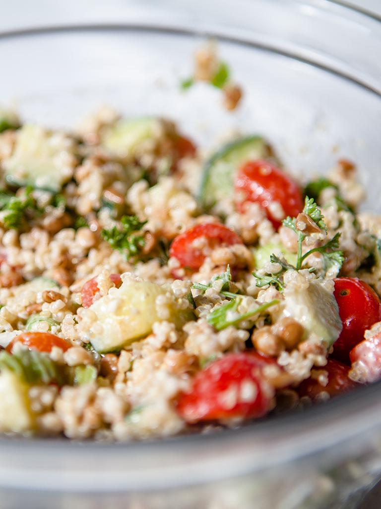 Gluten-free Quinoa Salad with Creamy Tahini Dressing
