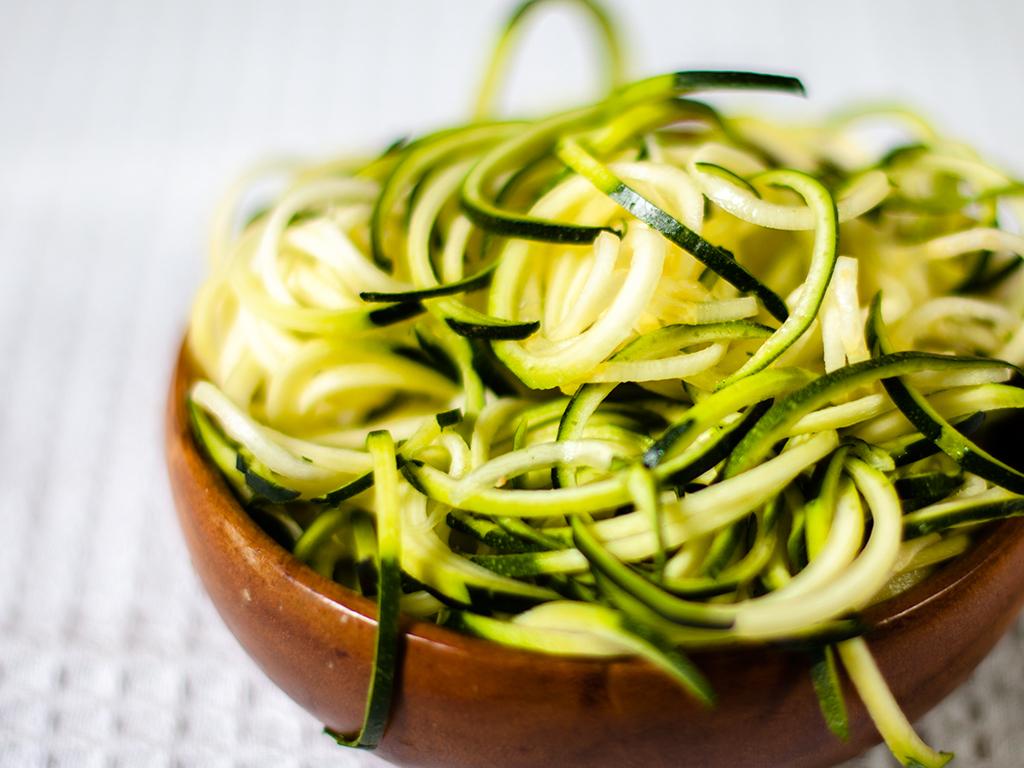 Raw Zucchini with Avocado Basil Sauce