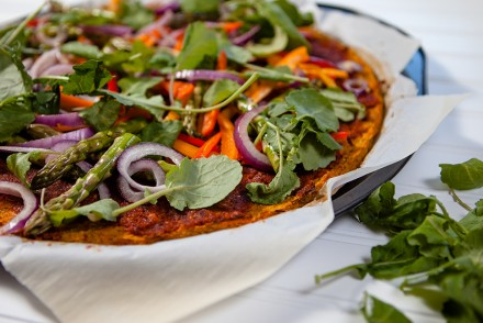 Sweet Potato Pizza with Sundried Pesto Sauce