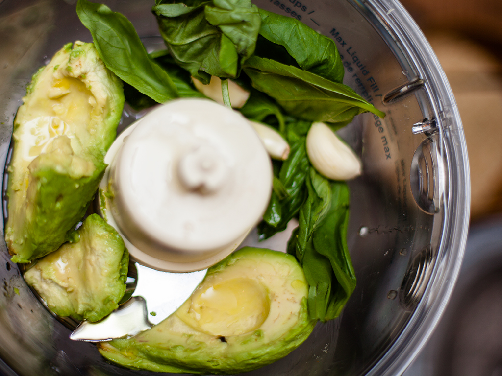 Raw Zucchini with Avocado Basil Sauce