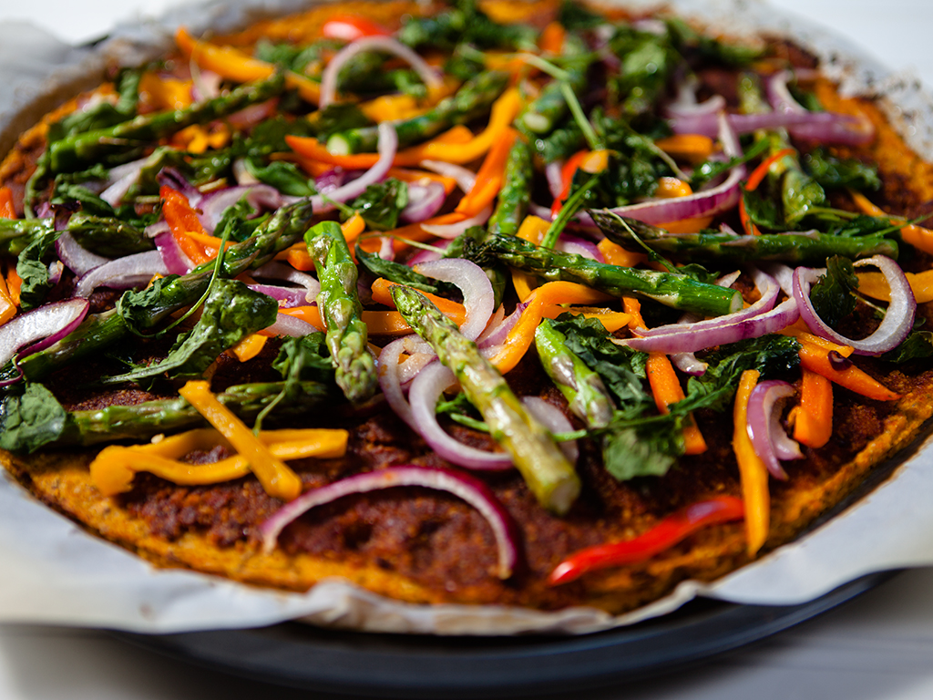 Sweet Potato Pizza with Sundried Pesto Sauce