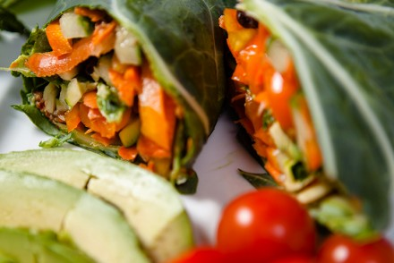 Vegan Chipotle Veggie Collard Wrap