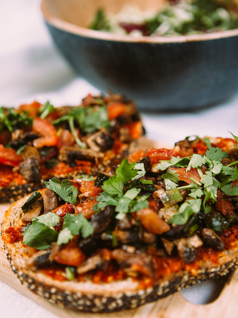 Vegan Mushroom Bruschetta with Sun Dried Tomato Pesto