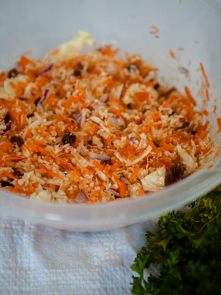 Crunchy Apricot Coleslaw with Tahini Dijon Mustard