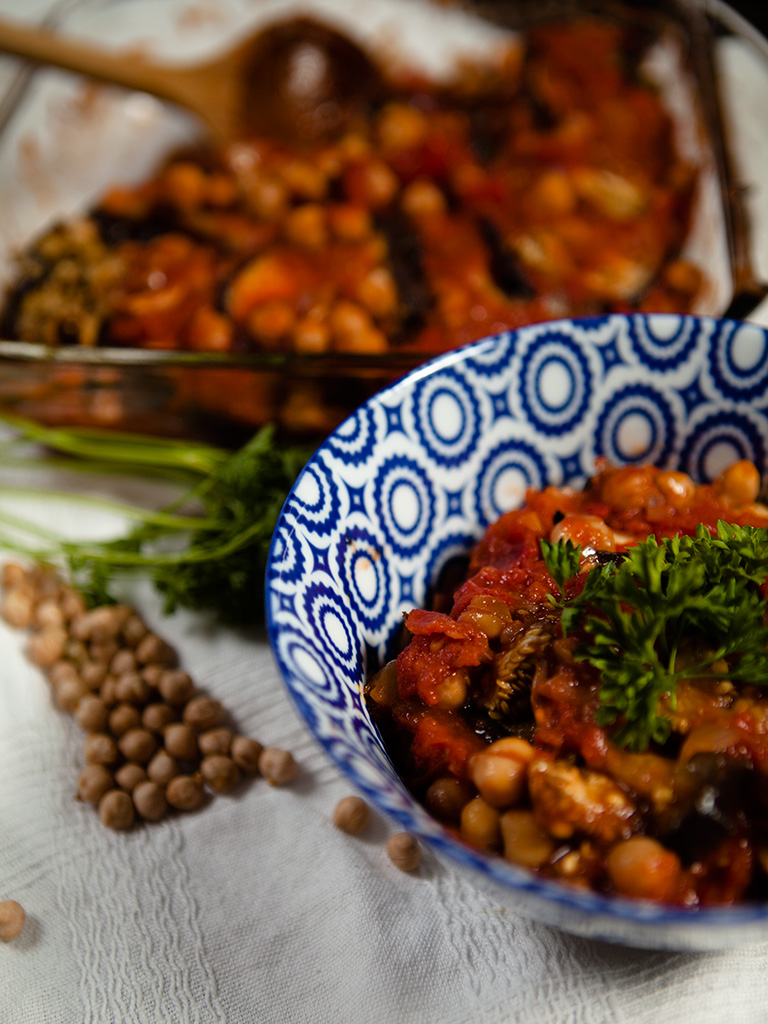 Eggplant and Chickpea Bake