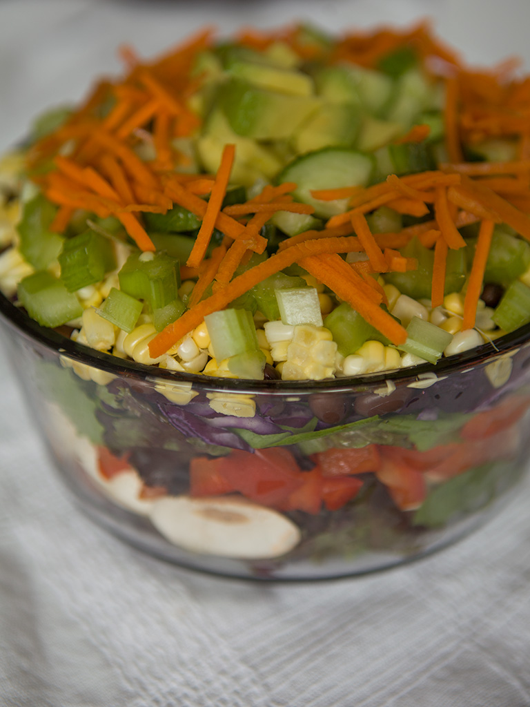 Vegan Kitchen Sink Layered Salad