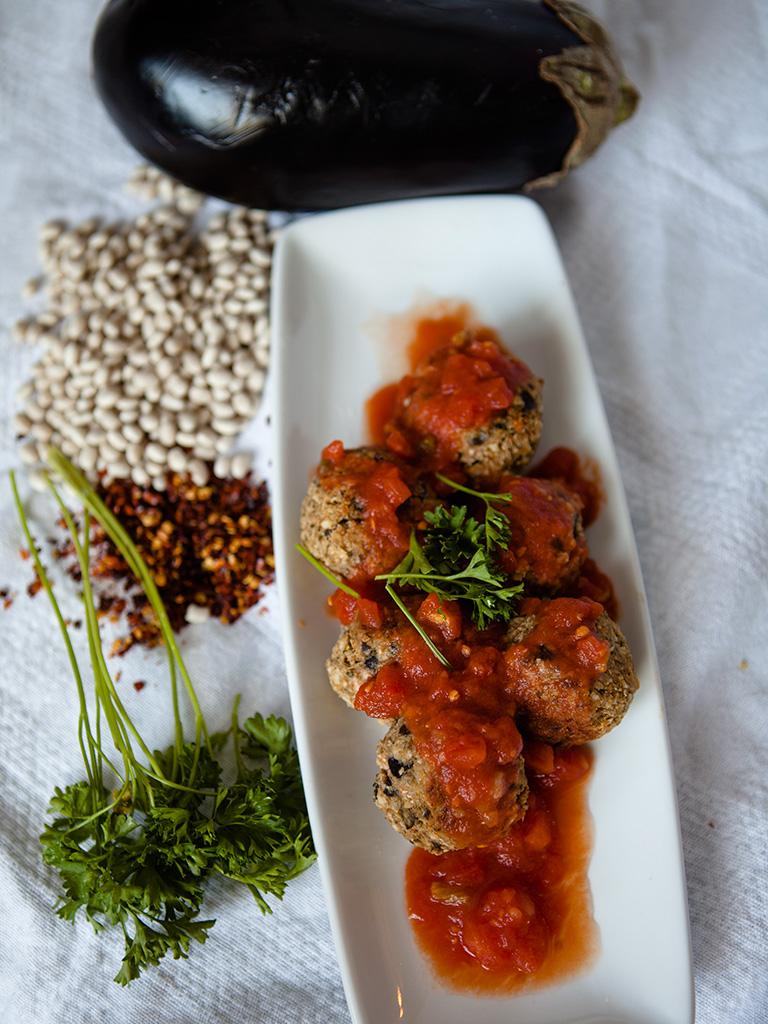 Vegan Eggplant and White Bean Meatballs