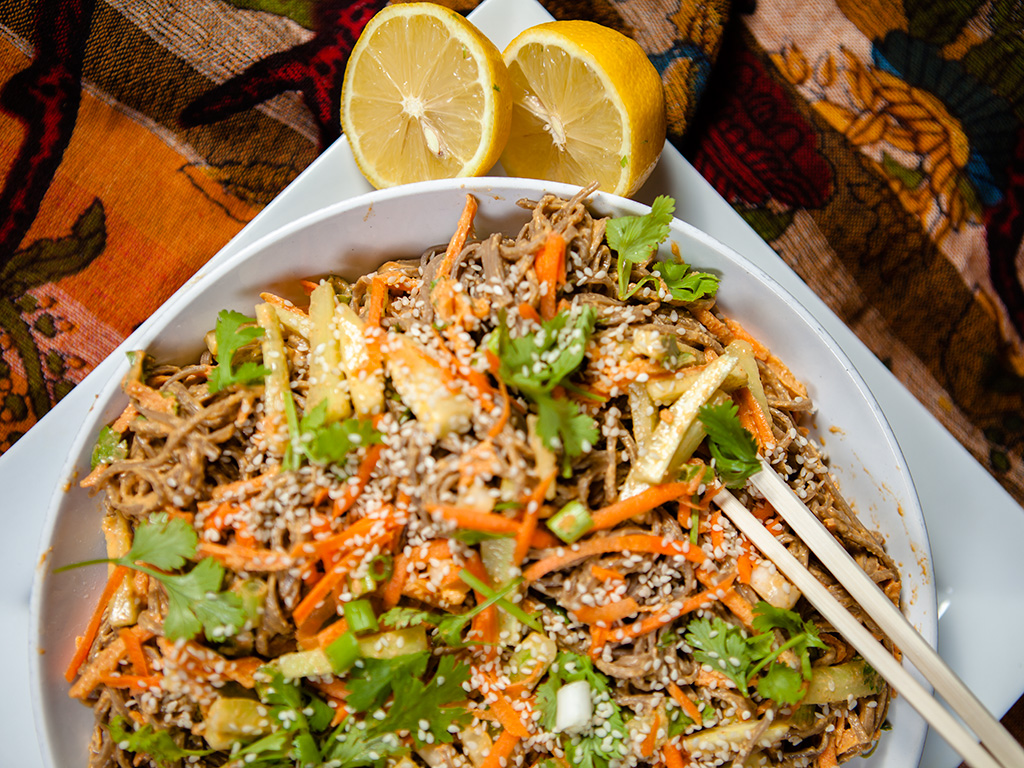 Soba Buckwheat Noodles with Creamy Peanut Sauce