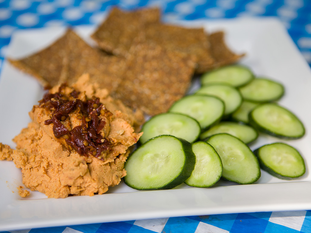 Raw Carrot Crackers and Chipotle Hummus