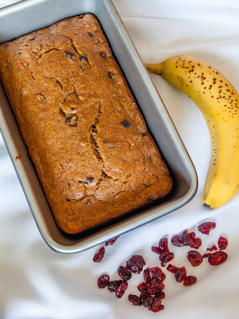 Vegan Banana Cranberry Loaf
