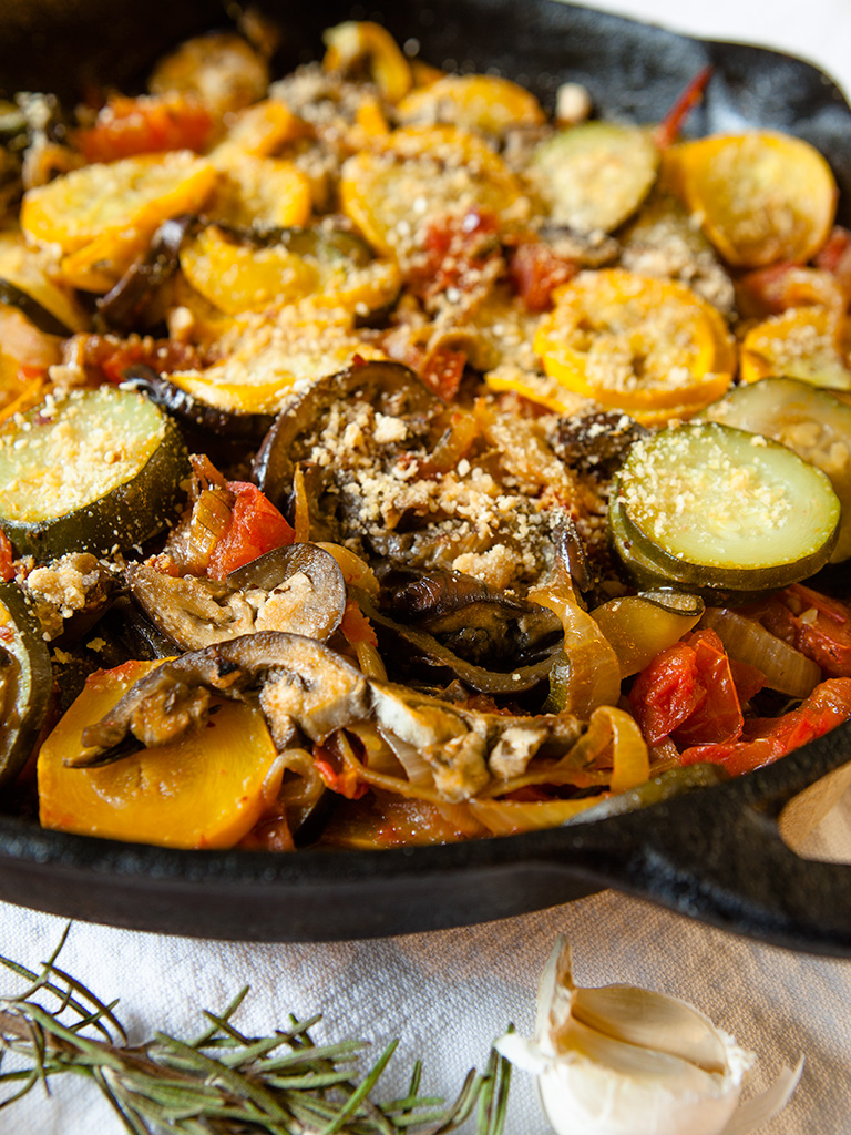 Baked Zucchini and Tomato Skillet