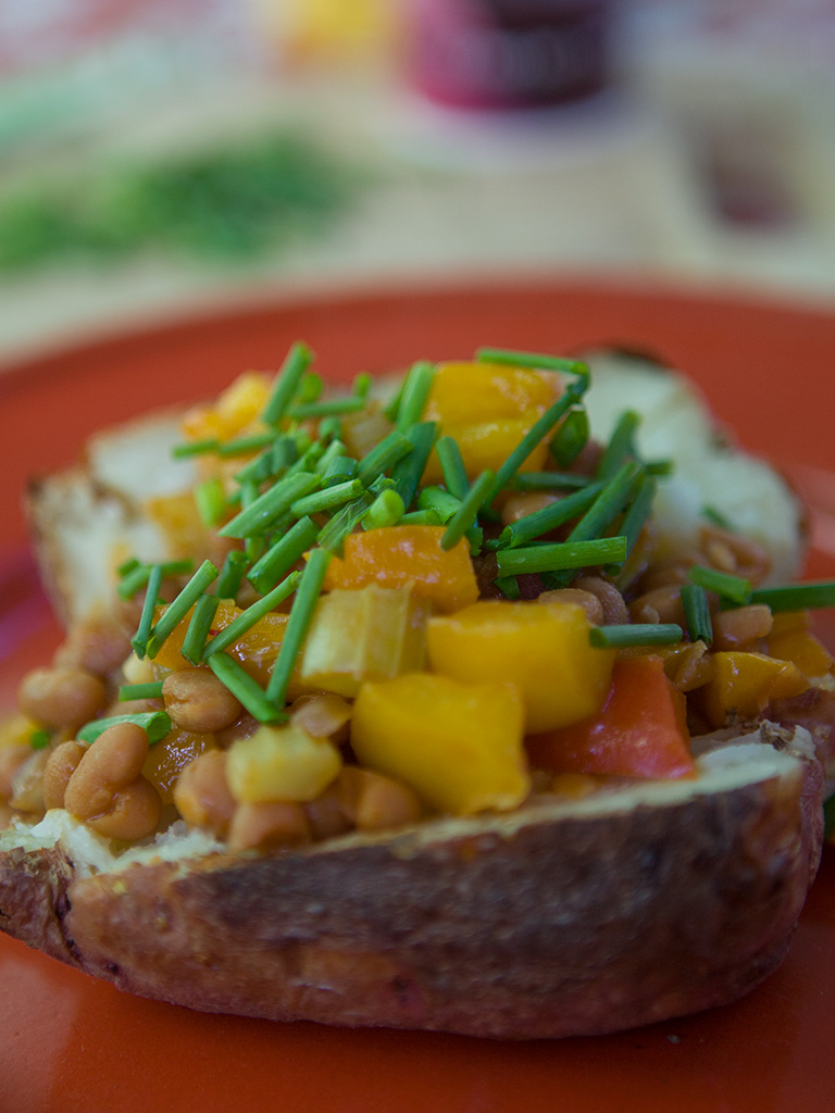BBQ Potatoes with Bean and Vegetable Topping