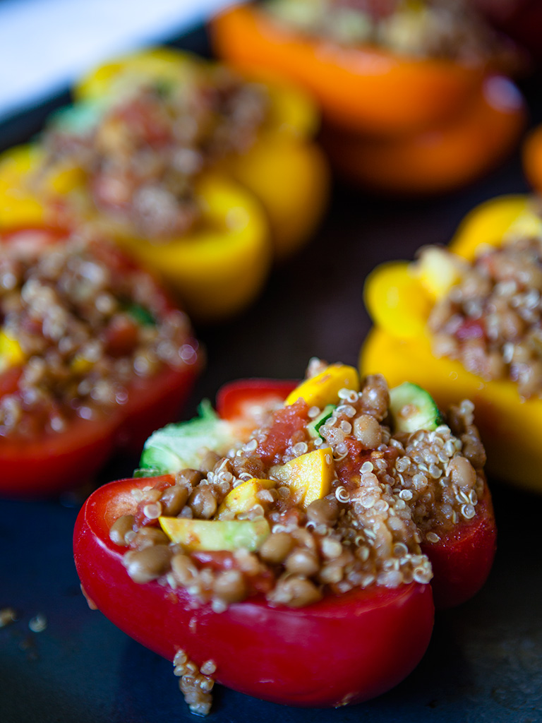 Lentil and Quinoa Stuffed Peppers