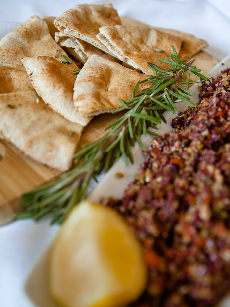 Olive Tapenade with Toasted Rosemary Pitas