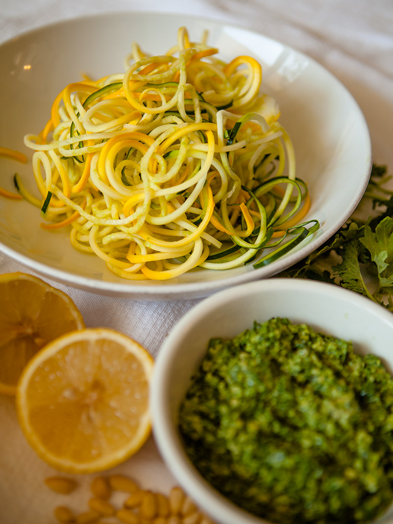 Raw Kale Pesto with Zucchini Noodles