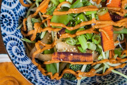 Quinoa Veggie Salad Bowl with Spicy Peanut Sauce