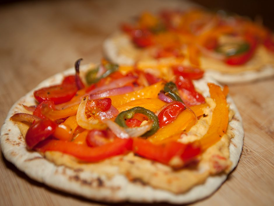 Hummus and Roasted Veggie Pita Pizza