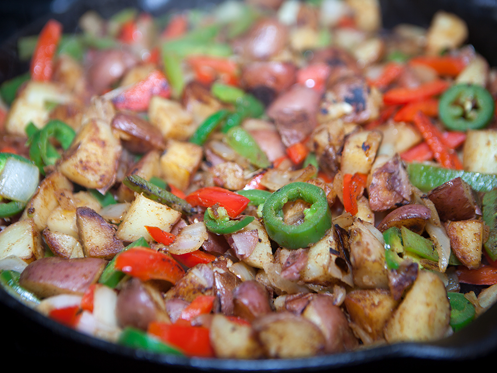 California style Vegan Home fries Peppers Onions
