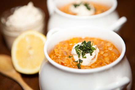 Lentil and Sweet Pepper Soup with Lemon Tahini Cream